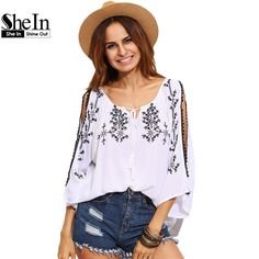 US $12.97 -- SheIn Womens Tops and Blouses For Summer White Three Quarter Length Batwing Sleeve Split Shoulder Tie Neck Embroidered Blouse aliexpress.com