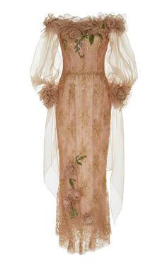 Marchesa Off The Shoulder Tea Length Dress