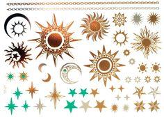 GOLD Tattoo Flash Tattoos Sterne Sonne Mond Ornamente ÜBER 40 TEILE (!) YS-57
