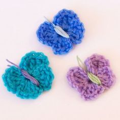 Quick and Easy Crochet Butterflies ~ easy level ~ use scrap yarn ~ add to beanies, headbands, purses - anything you can think of ~ FREE - CROCHET