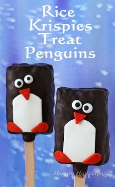 Hungry Happenings: Simple Chocolate Rice Krispies Treat Penguin Lollipops