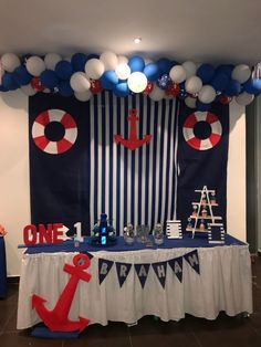 Ideas Baby Boy Shower Nautical Theme Decoration For 2019 Ideen Baby Boy Shower Nautical Theme Dekoration für 2019 Sailor Birthday, Sailor Party, Sailor Theme, Baby Birthday, Sailor Baby Showers, Anchor Baby Showers, Nautical Baby Showers, Nautical Baby Shower Decorations, Baby Shower Themes