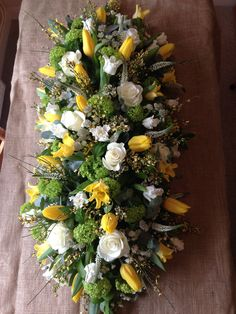 Spring bright casket spray Funeral Ideas, Casket Sprays, Funeral Tributes, Funeral Arrangements, Sympathy Flowers, Funeral Flowers, Bright, Table Decorations, Mom