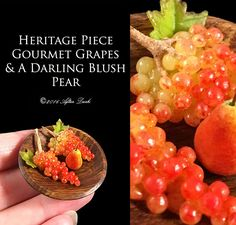 This is my one of a kind Exclusive Heritage Piece Gourmet Grapes & A Darling Blush Pear, set in a Realistic hand turned wooden Bowl.  The new concept of my exclusive Heritage pieces, are my original idea, along with still life in miniature, and forest fruits.  Artisan fully Handmade Miniature in 12th scale.  Please note that all work photos and designs you see here are my own and are copyright of After Dark Miniatures. You may contact me for written permission first for distribution of my...