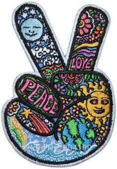 V Sign Victory Hand Hippie Peace & Love Symbol Dan Morris Rock Punk retro sew applique iron on patch Biker Vest Patch(China (Mainland))