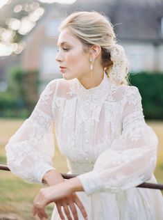 French lace and silk long sleeved wedding dress by Joanne Fleming Design for a summer bride, accessories by Victoria Fergusson, photo by Mariel Hannah wedding photos An English Summer Wedding Boho Wedding Dress With Sleeves, Long Sleeve Wedding, Lace Dress, Lace Weddings, Wedding Gowns, Wedding Lace, Summer Wedding, Organza Wedding Dresses, Silk Organza
