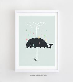 Happy Rainy Day  Art print by ilovedoodle on Etsy