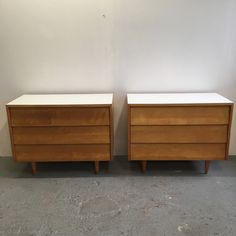 Pair of Early Florence Knoll Dressers with louvered drawers