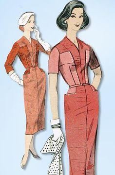 1950s Original Vintage Butterick Pattern 8218 Uncut Misses Slender Dress Sz 36 B