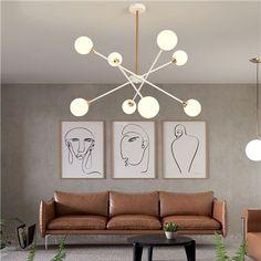 Lustre LED en métal verre à 6/8 lampes pour salon salle à manger, abat-jour en plusieurs modèles Led Pendant Lights, Modern Pendant Light, Led Chandelier, Living Room Lighting, Bedroom Lighting, Light Bedroom, Led Ceiling, Ceiling Fixtures, Lustre Led