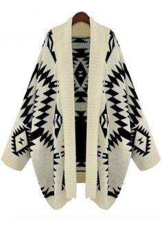 Apricot Batwing Long Sleeve Geometric Cardigan Sweater - yes please.