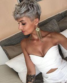 Dope cut! @jejojejo87 | #thecutlife #shorthair #haircolor #tattoos #edgyhair #stunner ✂️