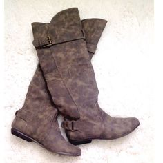 """distressed boot Grayish distressed boot, no trades. And new, no tags 18"""" circumference. Not Rated Shoes Over the Knee Boots"""