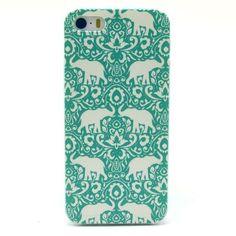 Mesh - iPhone 5(s) - Back Case Hoesje Hard Olifanten Groen   Shop4Hoesjes.nl