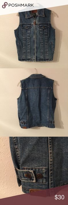 Lauren Jeans Co. heavyweight denim vest. This Lauren Jeans Co. denim vest can be styled so many different ways- over a dress, over a ribbed tank, over a men's V neck t shirt, over the Sanctuary chambray denim shirt dress that I previously posted. Ralph Lauren Jackets & Coats Vests