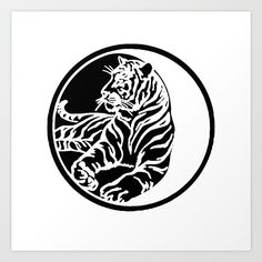 Buy Tiger Tattoo - Black Art Print by taiche. Worldwide shipping available at Society6.com. Just one of millions of high quality products available.