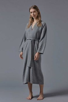 A timeless robe featuring a clean silhouette of minimal lines and soft edges. An aesthetic fused to the finest Luxury Mongolian cashmere of Mongolia, with which OYUNA shares its rich heritage. Cotton Bag, Knit Dress, Charcoal, Cashmere, Underwear, Gown, Pajamas, Slippers, Dressing