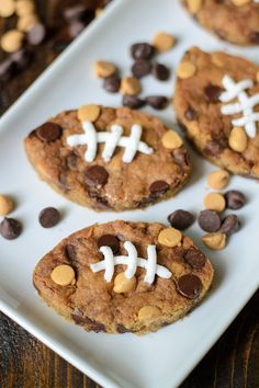 Football Chocolate Chip Peanut Butter Blondies? Perfect for game day and tailgates!