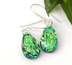 Emerald Green Sparkly Dichroic Glass Droplet Earrings, 925 Sterling Silver Earwires, Fused Glass Jewelry, Drop Earrings, Dangle Earrings by TremoughGlass on Etsy