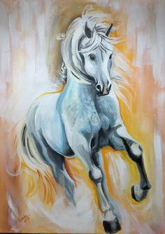 White horse /acrylic paint 50x70cm/