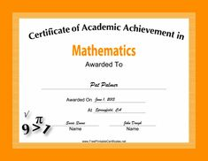 This free, printable certificate of academic achievement in mathematics has equations and formulas decorating a bright orange border. Free to download and print