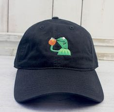 None of My Business Kermit Meme Dad Hat Curved Bill by REALEST