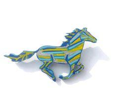 Horse Brooch, Horse Jewelry, Animal Brooch, Hand Painted Brooch, Running Horse…