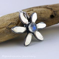 Daisy daisy ~ Sterling silver and moonstone rustic flower pendant by gemheaven,