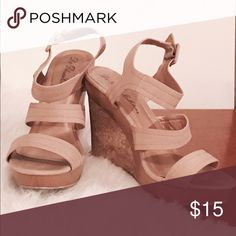 Tan / Nude Summer Wedges worn only ONCE for a wedding / PERFECT condition de blossom collection Shoes Wedges