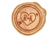 Heart and Arrow Double Initials Wax Seal Stamp