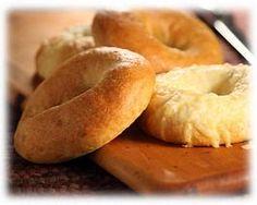Bagels made with Rhodes frozen dinner rolls.