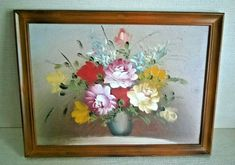 Floral Oil / Acrylic Painting on board Framed x Found in France Ref: 992 Tunbridge Wells, Founded In, French Vintage, Middle, France, Oil, Board, Floral, Painting