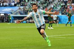 Messi scores a goal in the World Cup 2018 match of Argentina vs. Nigeria