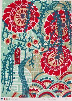 'Kimo' (2011) by English artist Zoe Badger. Linocut (print ref 140). via Zebedeeprint on Etsy