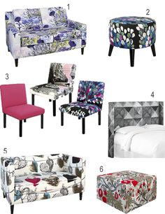 Printed Upholstered Furniture By Vallila For Target Big Box Store, Upholstered Furniture, Furniture Collection, Vanity Bench, Home Furnishings, Accent Chairs, Target, Interior Design, Colour