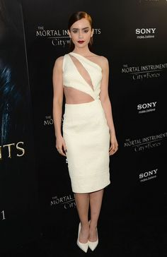 @roressclothes clothing ideas #women fashion Lily Collins: Ivory Cutout Dress by Cushnie et Ochs