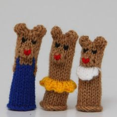 Bear Family Finger Puppet Set Includes Dad Bear Mom by WeeKnit, $11.50