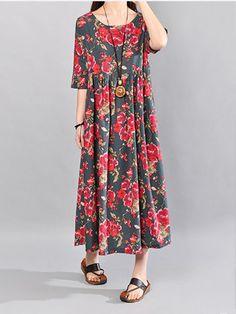 O-NEWE Vintage Flower Printed Short Sleeve Maxi Dress For Women