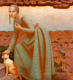 We are professional Andrey Remnev supplier and manufacturer in China.We can produce Andrey Remnev according to your requirements.More types of Andrey Remnev wanted,please contact us right now! Russian Painting, Russian Art, Figure Painting, She And Her Cat, Illustration Art, Illustrations, Magic Realism, Medieval Fashion, Portraits