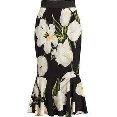 Dolce & Gabbana Tulip-print stretch-silk skirt (4,355 MYR) ❤ liked on Polyvore featuring skirts, bottoms, dolce & gabbana, white multi, flouncy skirt, frilly skirt, tulip skirt, white flounce skirt and dolce gabbana skirt