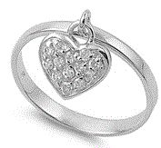 Oh so sweet!!!! NEW!!!!!   Sterling Silver Dangling CZ Heart Ring!!!! $20 *Available in whole sizes 4-9  www.facebook.com/groups/jewelrybycara
