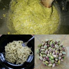 Parsons Pistachio Pesto - roasted pistachios, fresh basil, extra virgin olive oil, parmesan, garlic, cooked white onion, salt, squeeze of lemon, cup of pasta water. Mix with cream and chili flakes for extra special pasta sauce!