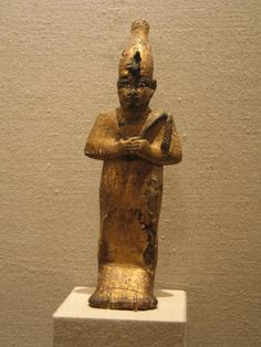 This statuette, one of whose eyes was repaired in ancient times, may have been a pious gift to one of the temples associated with the important animal cemeteries at Saqqara. For information on so-called sacred animals and the god Osiris, see the installations in Temples, Tombs, and the Egyptian Universe.  Medium: Wood, gessoed and gilded, paste, bronze and electrum Place Made: Saqqara, Egypt Dates: 4th century B.C.E. or later Dynasty: XXX Dynasty, or later Period: Late Period to Ptolemaic…