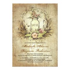 vintage floral mason jar rustic wedding card #masonjar #rusticwedding #stringlights #weddinginvitation #outdoorwedding #countrywedding