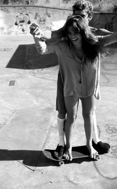 tandem skate | lovers | rad | black & white | skater | fun | balance | love to be honest without him I'd fall off