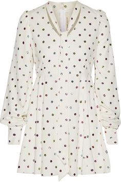 Marc Jacobs - Pussy-bow Glittered Polka-dot Cady Mini Dress - White - US10