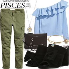 Creative #Pisces will take to spring's artfully reworked shirts like fish to water. Paired with Fergie #blockheels, this effortlessly chic look is ideal for an intimate #birthdaydinner with friends. #mules #horoscope (Fergie Footwear: Black NOELLE Mules on Polyvore featuring H&M apparel, Etienne Aigner clutch and Alex and Ani bracelet)