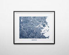 Boston Massachusetts Abstract Street Map Print by louisianaprints