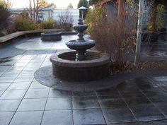 Our patio, which is stamped,exposed aggregate and stained concrete