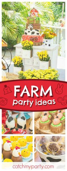 Mais Festas's Birthday / Fazendinha - Arthur's Farm birthday party at Catch My Party Farm Yard Birthday Party, Farm Themed Party, Boy Birthday Parties, 2nd Birthday, Birthday Ideas, Farm Party Invitations, Farm Party Decorations, Party Activities, Animal Party